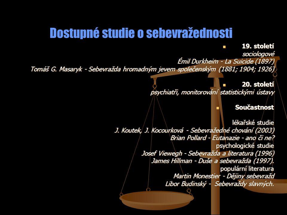 Dostupné studie o sebevražednosti 19. století 19. stoletísociologové Émil Durkheim - La Suicide (1897) Tomáš G. Masaryk - Sebevražda hromadným jevem s