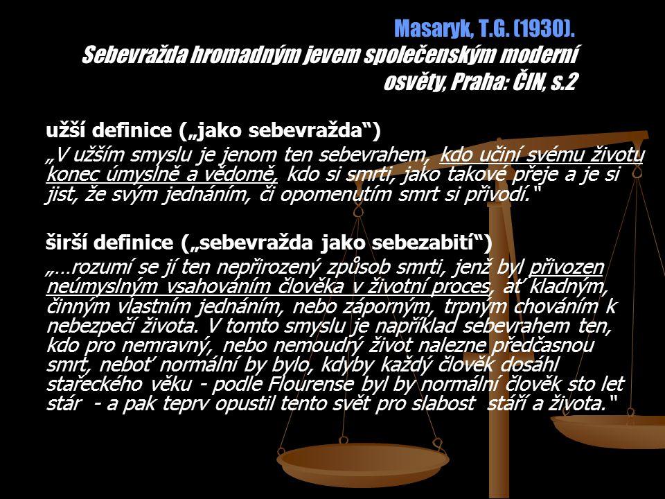 """Masaryk, T.G. (1930). Sebevražda hromadným jevem společenským moderní osvěty, Praha: ČIN, s.2 užší definice (""""jako sebevražda"""") """"V užším smyslu je jen"""