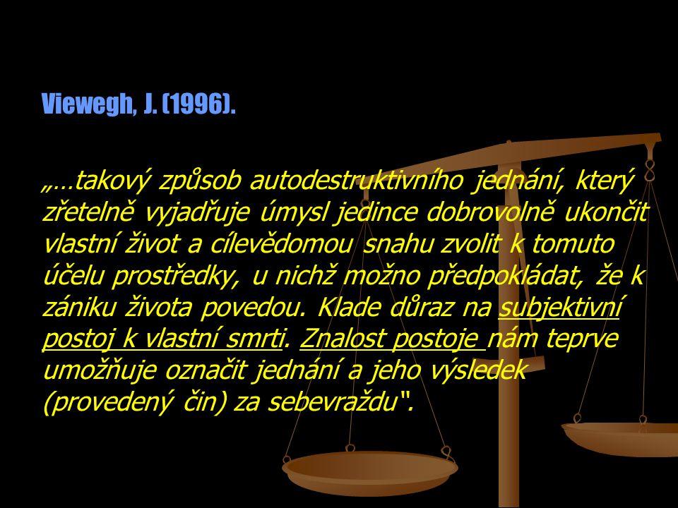 """Viewegh, J. (1996). """"…takový způsob autodestruktivního jednání, který zřetelně vyjadřuje úmysl jedince dobrovolně ukončit vlastní život a cílevědomou"""