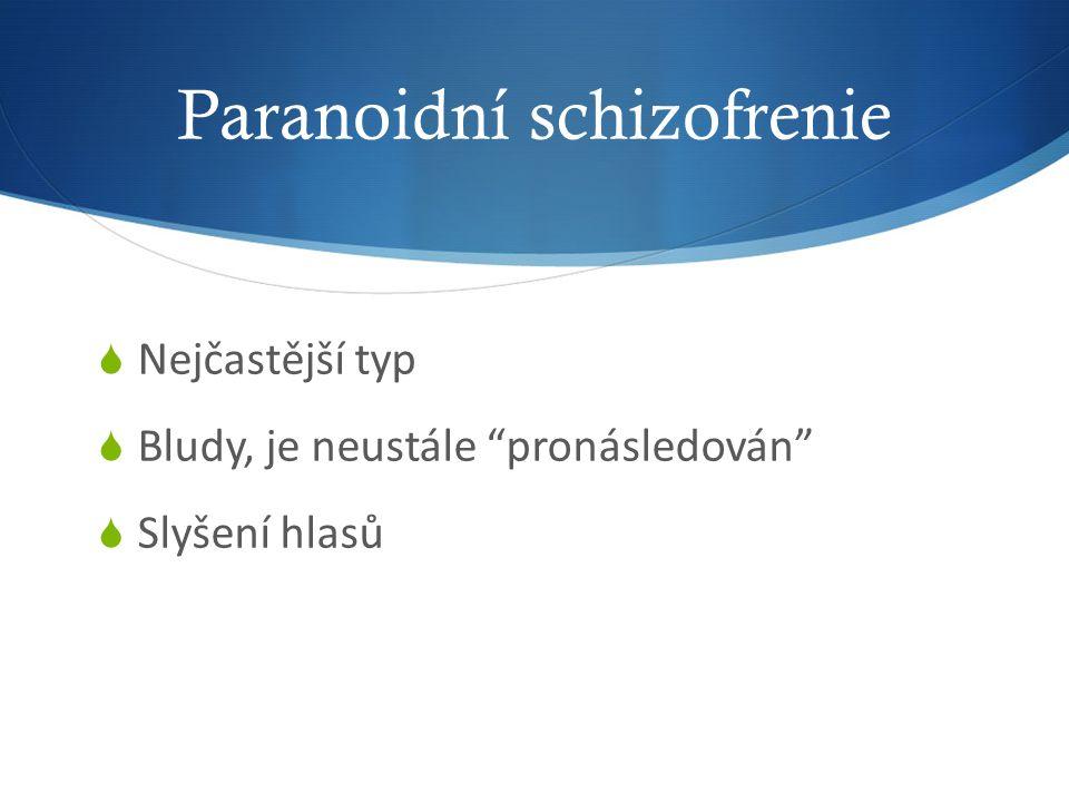 Paranoidní schizofrenie  Nejčastější typ  Bludy, je neustále pronásledován  Slyšení hlasů
