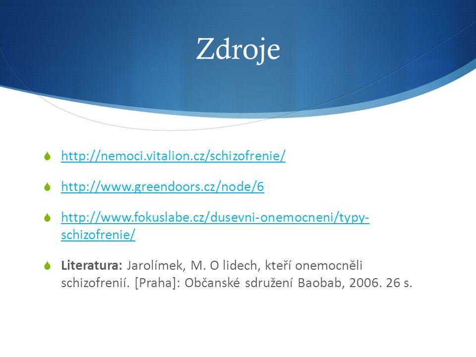 Zdroje  http://nemoci.vitalion.cz/schizofrenie/ http://nemoci.vitalion.cz/schizofrenie/  http://www.greendoors.cz/node/6 http://www.greendoors.cz/node/6  http://www.fokuslabe.cz/dusevni-onemocneni/typy- schizofrenie/ http://www.fokuslabe.cz/dusevni-onemocneni/typy- schizofrenie/  Literatura: Jarolímek, M.