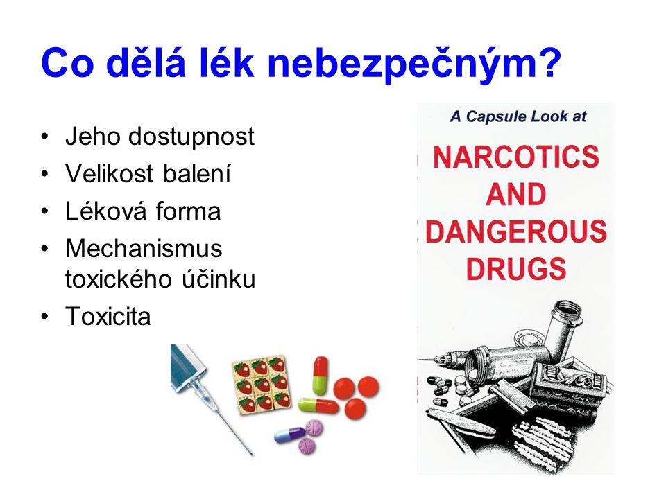 Co dělá lék nebezpečným? Jeho dostupnost Velikost balení Léková forma Mechanismus toxického účinku Toxicita