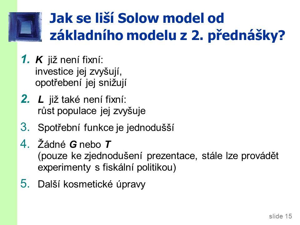 slide 15 Jak se liší Solow model od základního modelu z 2. přednášky? 1. K již není fixní: investice jej zvyšují, opotřebení jej snižují 2. L již také