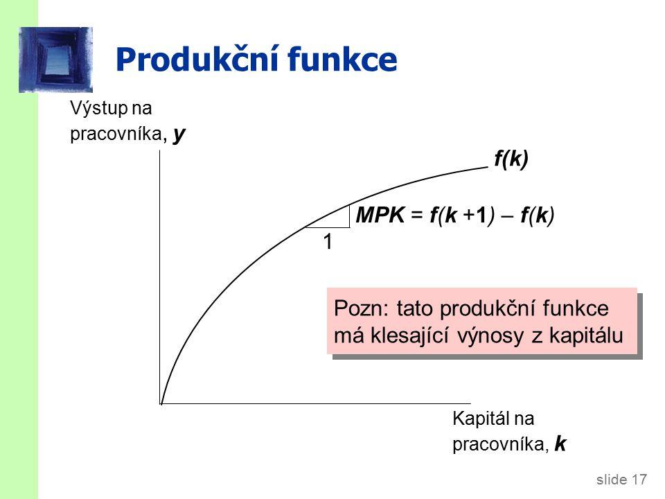 slide 17 Produkční funkce Výstup na pracovníka, y Kapitál na pracovníka, k f(k) Pozn: tato produkční funkce má klesající výnosy z kapitálu 1 MPK = f(k