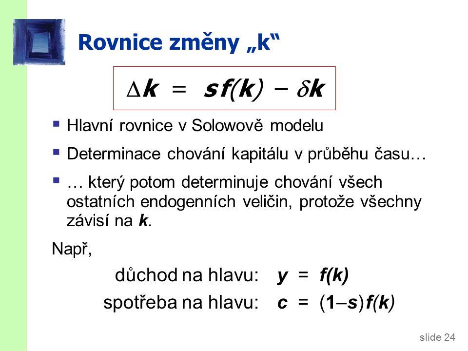 """slide 24 Rovnice změny """"k  Hlavní rovnice v Solowově modelu  Determinace chování kapitálu v průběhu času…  … který potom determinuje chování všech ostatních endogenních veličin, protože všechny závisí na k."""