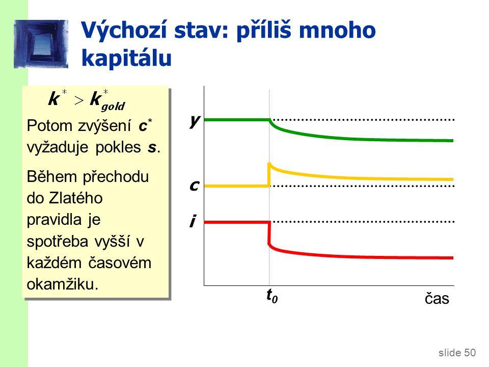 slide 50 Výchozí stav: příliš mnoho kapitálu Potom zvýšení c * vyžaduje pokles s. Během přechodu do Zlatého pravidla je spotřeba vyšší v každém časové