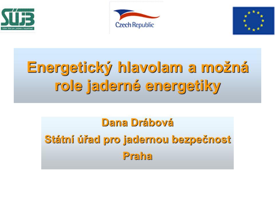 Energetický hlavolam a možná role jaderné energetiky Dana Drábová Státní úřad pro jadernou bezpečnost Praha