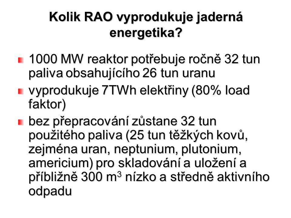Kolik RAO vyprodukuje jaderná energetika.