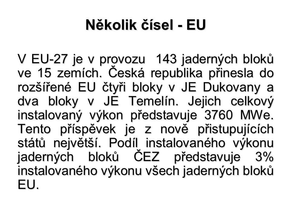 Několik čísel - EU V EU-27 je v provozu 143 jaderných bloků ve 15 zemích. Česká republika přinesla do rozšířené EU čtyři bloky v JE Dukovany a dva blo