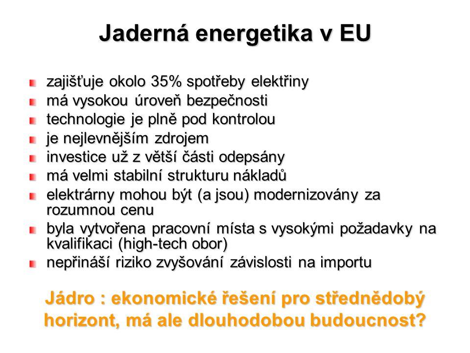 Jaderná energetika v EU zajišťuje okolo 35% spotřeby elektřiny má vysokou úroveň bezpečnosti technologie je plně pod kontrolou je nejlevnějším zdrojem