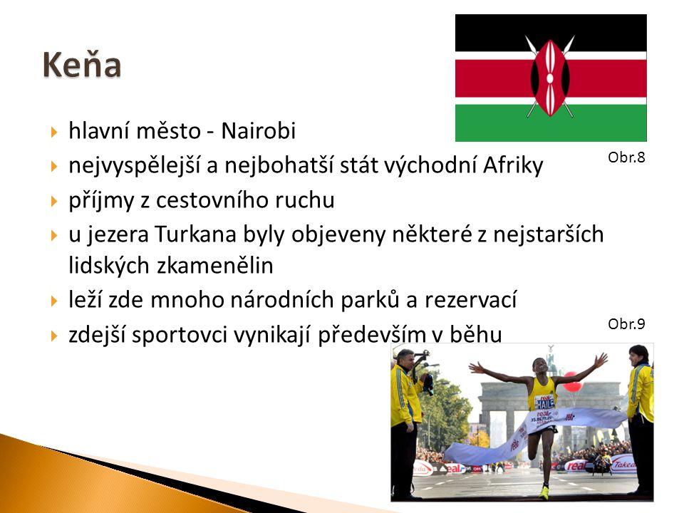  hlavní město - Nairobi  nejvyspělejší a nejbohatší stát východní Afriky  příjmy z cestovního ruchu  u jezera Turkana byly objeveny některé z nejstarších lidských zkamenělin  leží zde mnoho národních parků a rezervací  zdejší sportovci vynikají především v běhu Obr.8 Obr.9