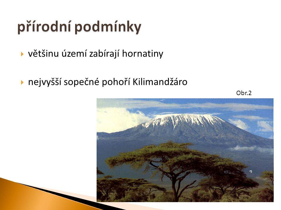 většinu území zabírají hornatiny  nejvyšší sopečné pohoří Kilimandžáro Obr.2