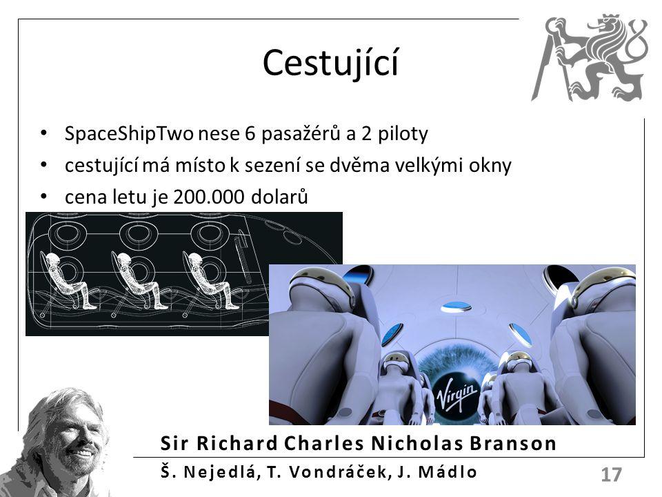 Sir Richard Charles Nicholas Branson Š. Nejedlá, T. Vondráček, J. Mádlo Cestující SpaceShipTwo nese 6 pasažérů a 2 piloty cestující má místo k sezení