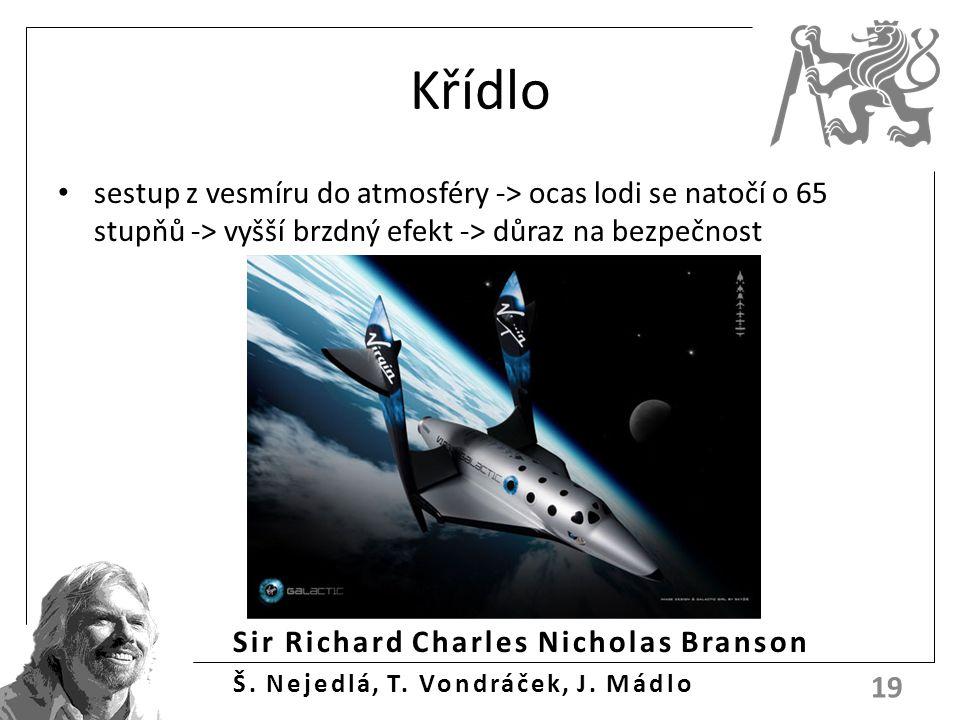 Sir Richard Charles Nicholas Branson Š. Nejedlá, T. Vondráček, J. Mádlo Křídlo sestup z vesmíru do atmosféry -> ocas lodi se natočí o 65 stupňů -> vyš