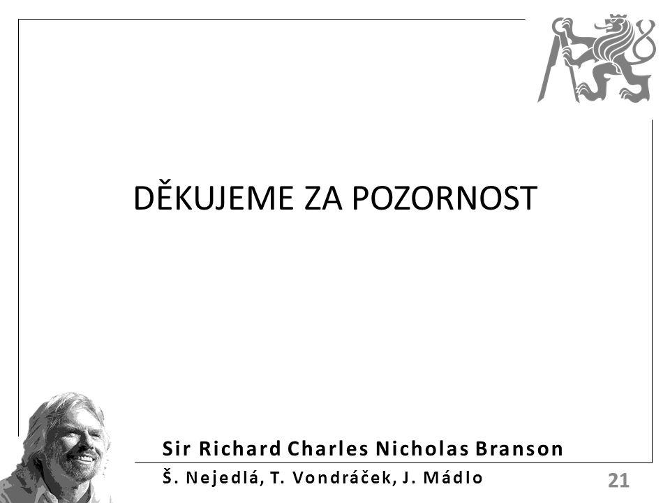 Sir Richard Charles Nicholas Branson Š. Nejedlá, T. Vondráček, J. Mádlo DĚKUJEME ZA POZORNOST 21
