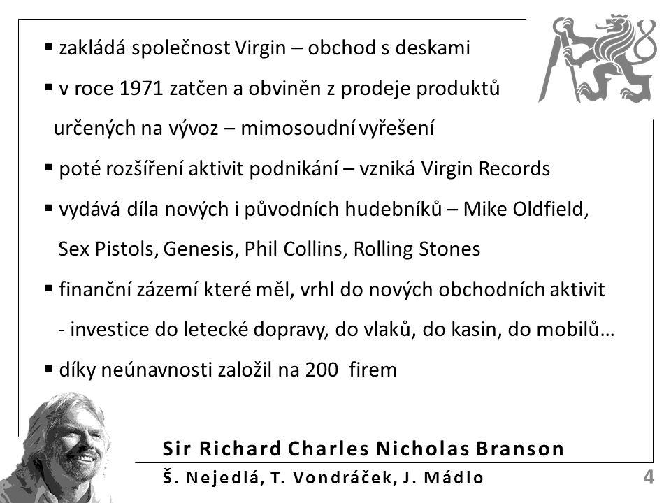 Sir Richard Charles Nicholas Branson Š. Nejedlá, T. Vondráček, J. Mádlo 4  zakládá společnost Virgin – obchod s deskami  v roce 1971 zatčen a obvině