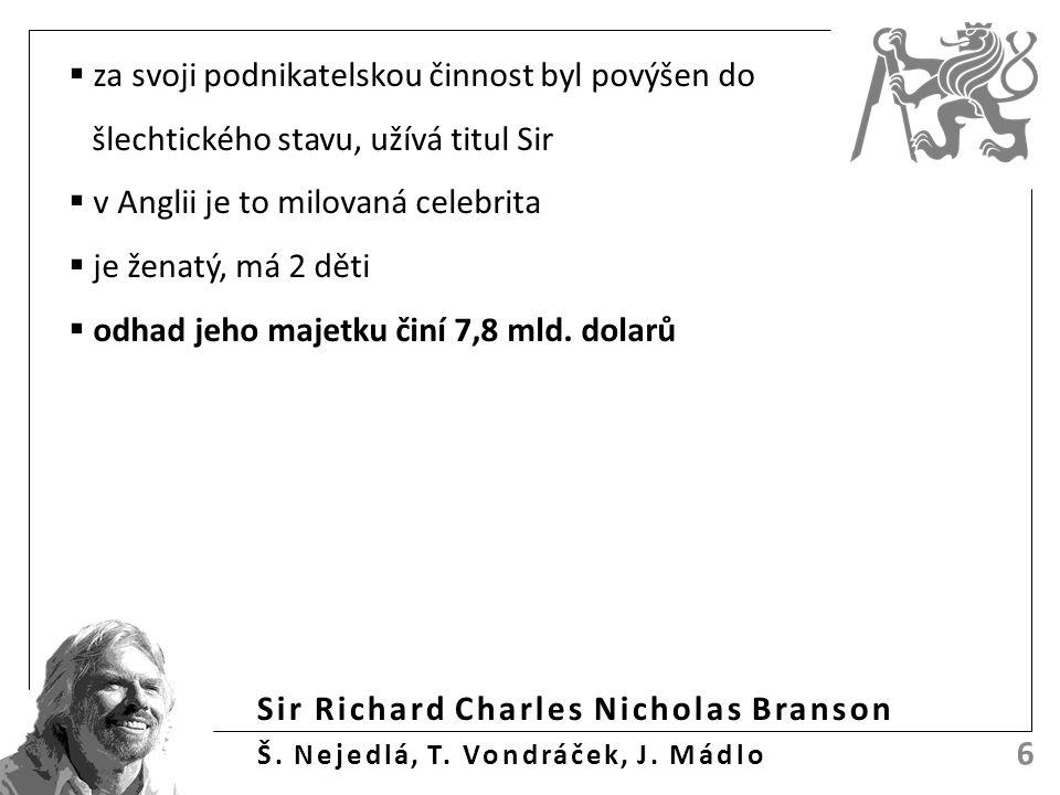 Sir Richard Charles Nicholas Branson Š. Nejedlá, T. Vondráček, J. Mádlo 6  za svoji podnikatelskou činnost byl povýšen do šlechtického stavu, užívá t