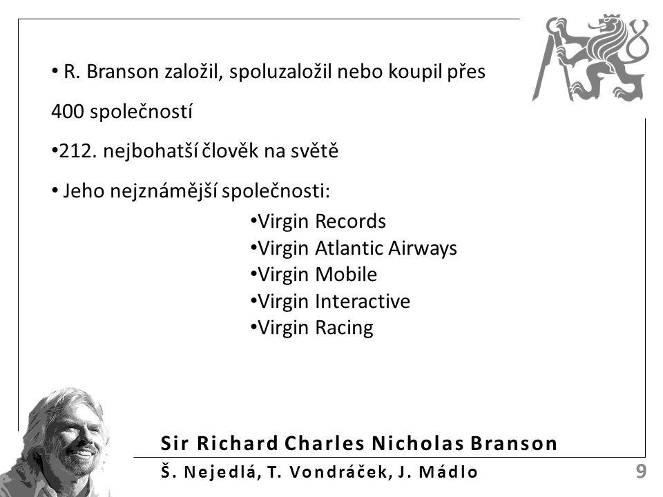 Sir Richard Charles Nicholas Branson Š. Nejedlá, T. Vondráček, J. Mádlo 9 R. Branson založil, spoluzaložil nebo koupil přes 400 společností 212. nejbo