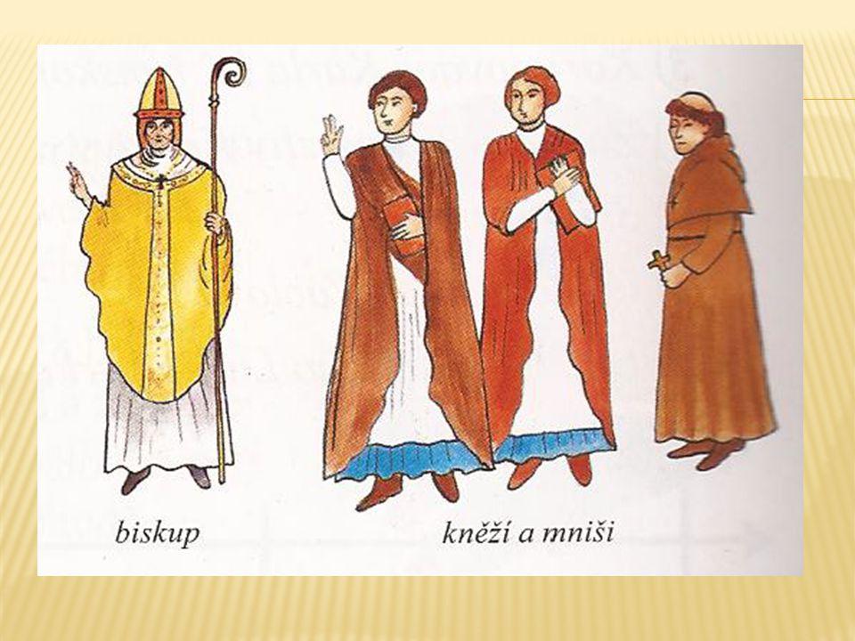 - vlastnila kláštery, kostely, vesnice s poddanými - peníze získávala také z církevních úkonů – pohřby, křty - stále bohatla - hlavní představitelé církve žili v přepychu - vysocí představitelé – arcibiskupové, biskupové - řadoví příslušníci – kněží, mniši