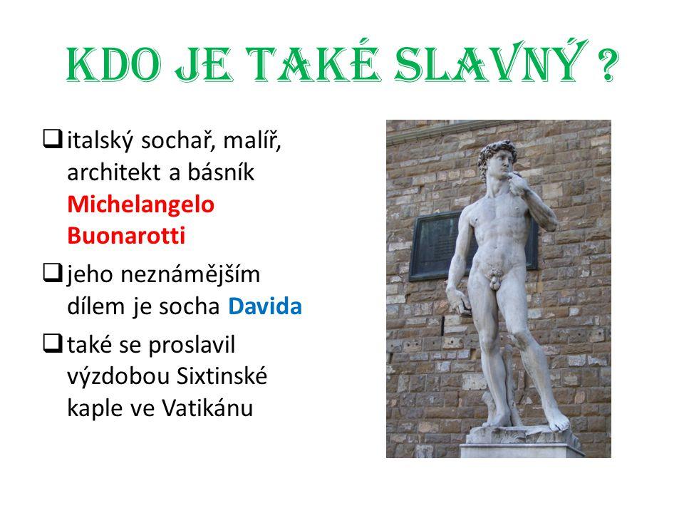 Kdo je také slavný ?  italský sochař, malíř, architekt a básník Michelangelo Buonarotti  jeho neznámějším dílem je socha Davida  také se proslavil