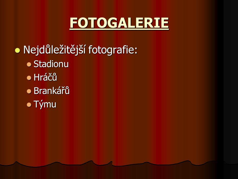 FOTOGALERIE Nejdůležitější fotografie: Nejdůležitější fotografie: Stadionu Stadionu Hráčů Hráčů Brankářů Brankářů Týmu Týmu