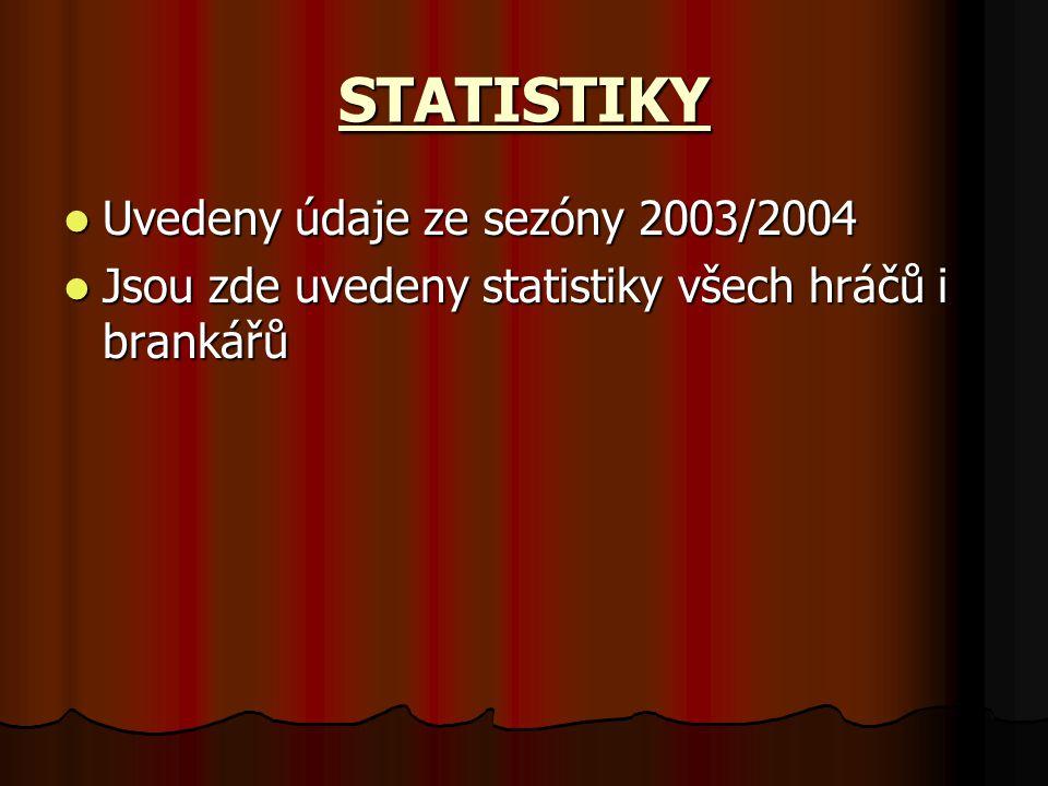 STATISTIKY Uvedeny údaje ze sezóny 2003/2004 Uvedeny údaje ze sezóny 2003/2004 Jsou zde uvedeny statistiky všech hráčů i brankářů Jsou zde uvedeny statistiky všech hráčů i brankářů