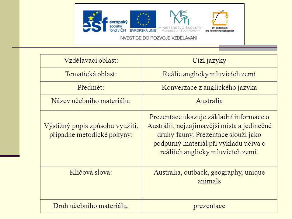 Vzdělávací oblast:Cizí jazyky Tematická oblast:Reálie anglicky mluvících zemí Předmět:Konverzace z anglického jazyka Název učebního materiálu:Australi