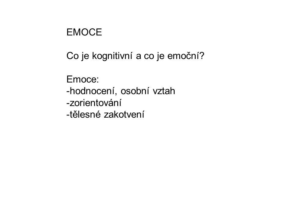 EMOCE Co je kognitivní a co je emoční.