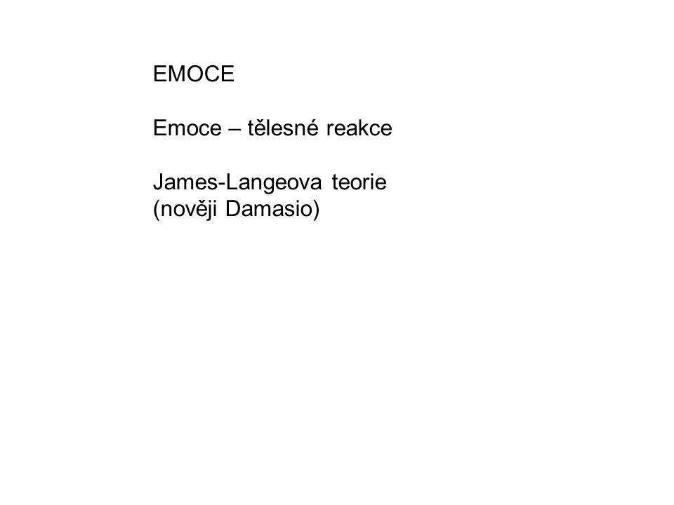 EMOCE Emoce – tělesné reakce James-Langeova teorie (nověji Damasio)