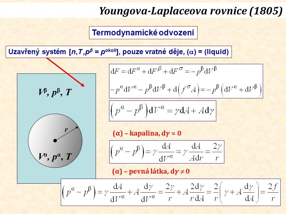 V α, p α, T V β, p β, T r Uzavřený systém [n,T,p β = p okolí ], pouze vratné děje, (  ) = (liquid) Termodynamické odvození Youngova-Laplaceova rovnic