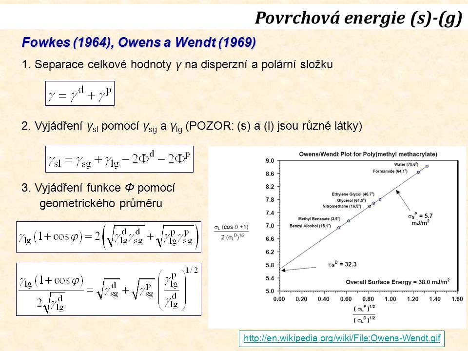 Fowkes (1964), Owens a Wendt (1969) 1. Separace celkové hodnoty γ na disperzní a polární složku 2. Vyjádření γ sl pomocí γ sg a γ lg (POZOR: (s) a (l)