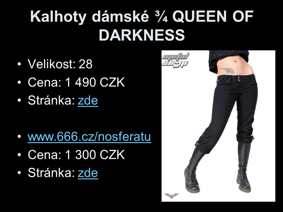 Sukně dámská QUEEN OF DARKNESS Velikost: 28 Cena: 1 390 CZK Stránka: zdezde