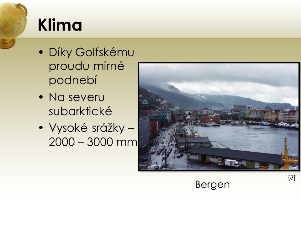Klima Díky Golfskému proudu mírné podnebí Na severu subarktické Vysoké srážky – 2000 – 3000 mm [3][3] Bergen