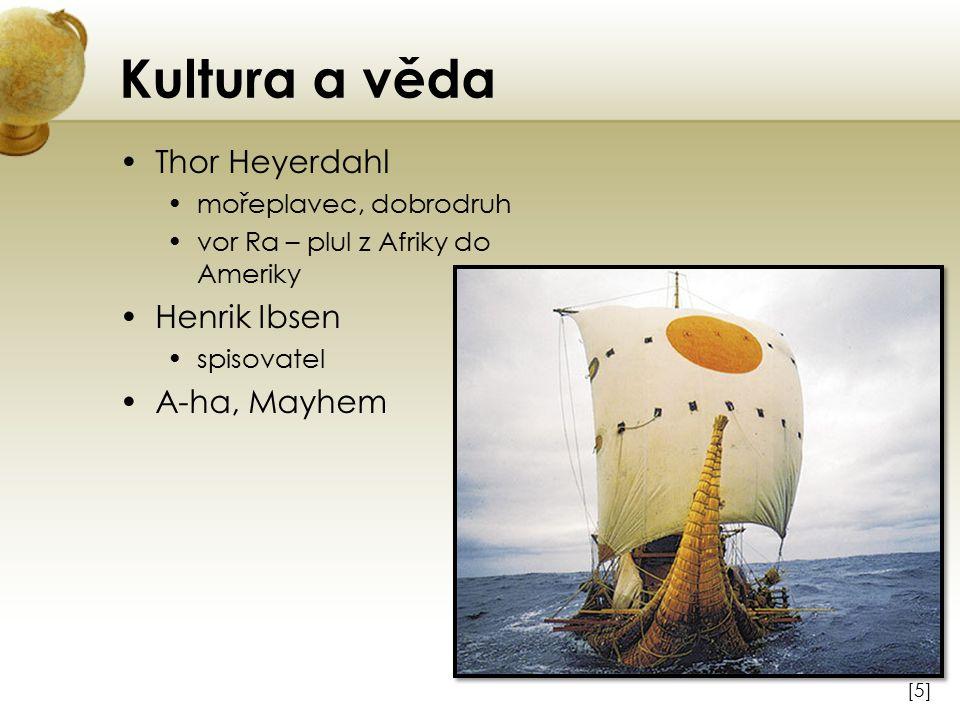 Kultura a věda Thor Heyerdahl mořeplavec, dobrodruh vor Ra – plul z Afriky do Ameriky Henrik Ibsen spisovatel A-ha, Mayhem [5][5]