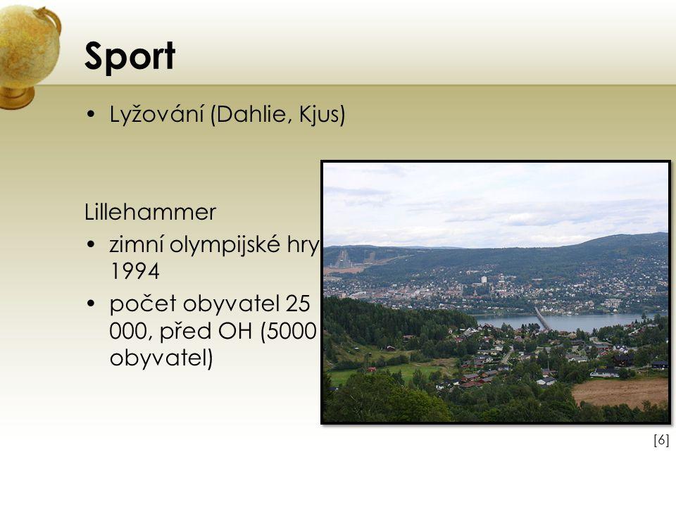 Sport Lyžování (Dahlie, Kjus) Lillehammer zimní olympijské hry 1994 počet obyvatel 25 000, před OH (5000 obyvatel) [6][6]