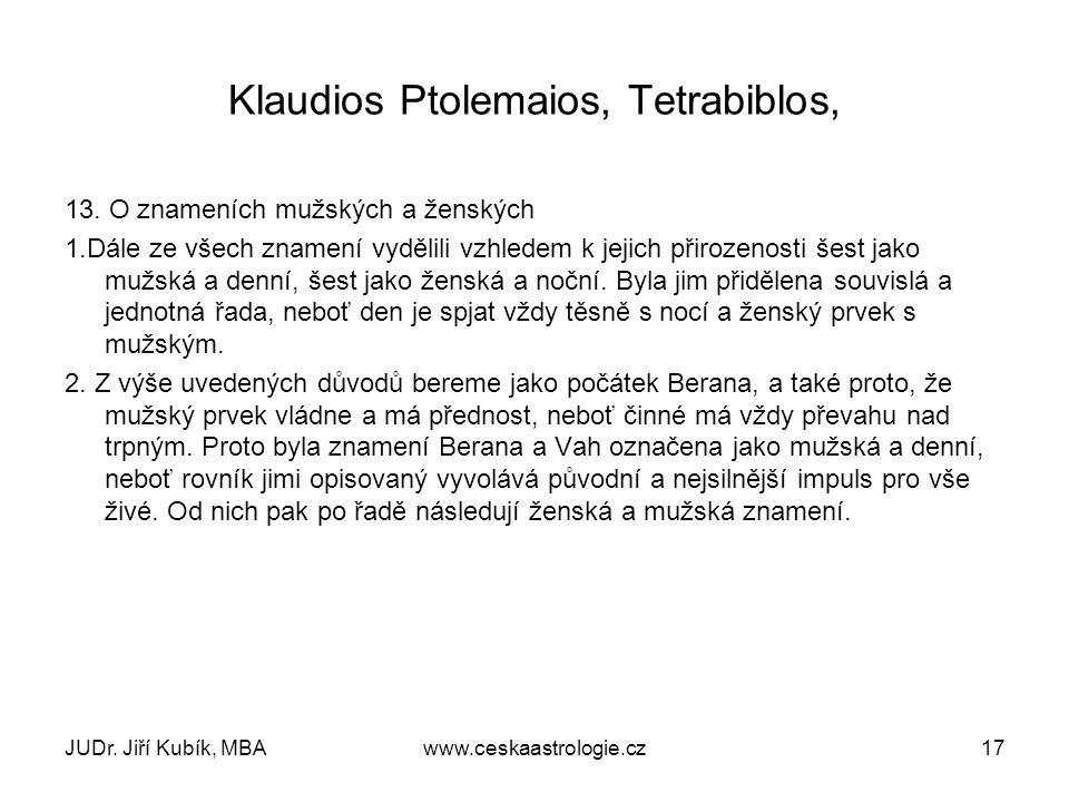 JUDr. Jiří Kubík, MBAwww.ceskaastrologie.cz17 Klaudios Ptolemaios, Tetrabiblos, 13. O znameních mužských a ženských 1.Dále ze všech znamení vydělili v