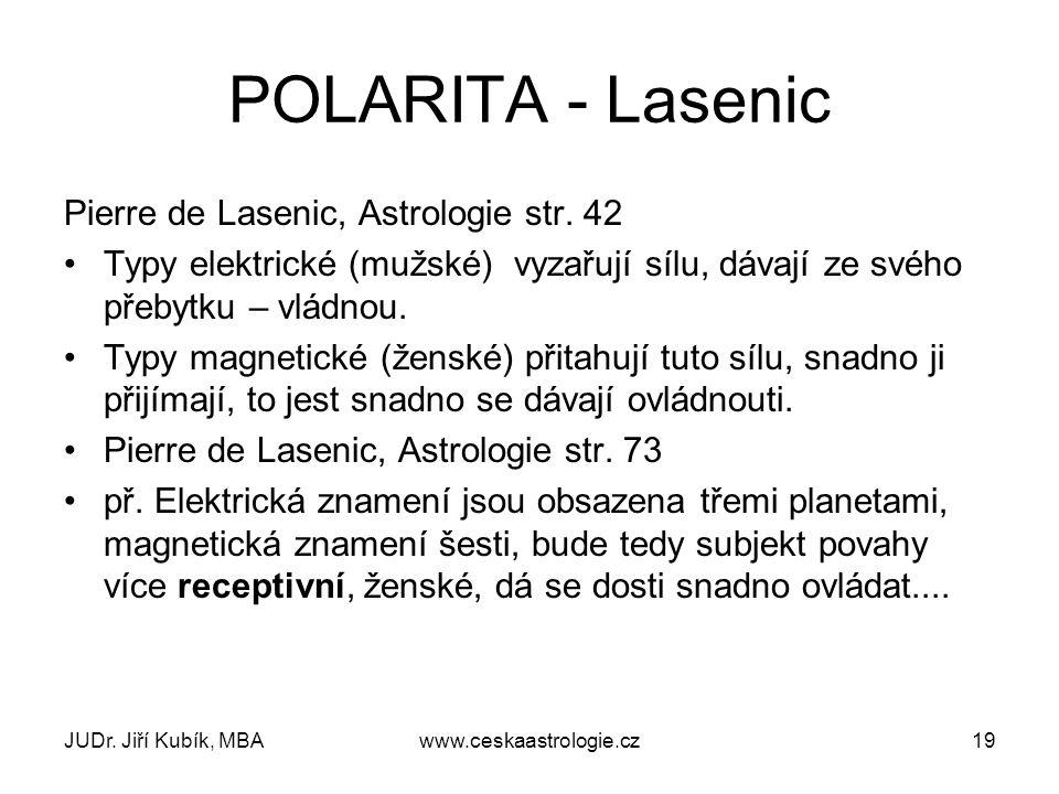 JUDr. Jiří Kubík, MBAwww.ceskaastrologie.cz19 POLARITA - Lasenic Pierre de Lasenic, Astrologie str. 42 Typy elektrické (mužské) vyzařují sílu, dávají
