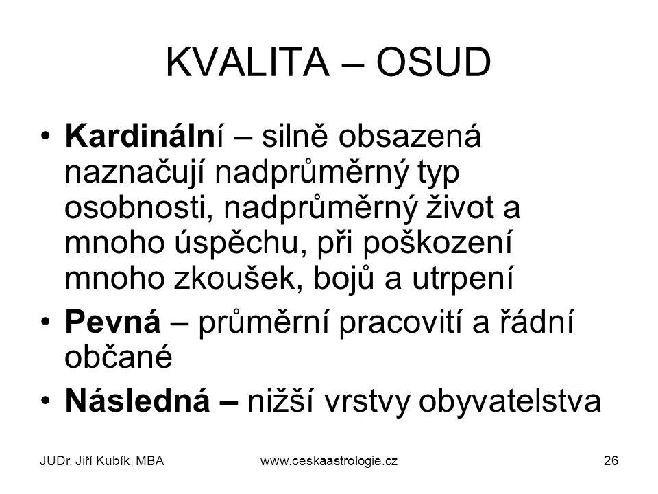 JUDr. Jiří Kubík, MBAwww.ceskaastrologie.cz26 KVALITA – OSUD Kardinální – silně obsazená naznačují nadprůměrný typ osobnosti, nadprůměrný život a mnoh
