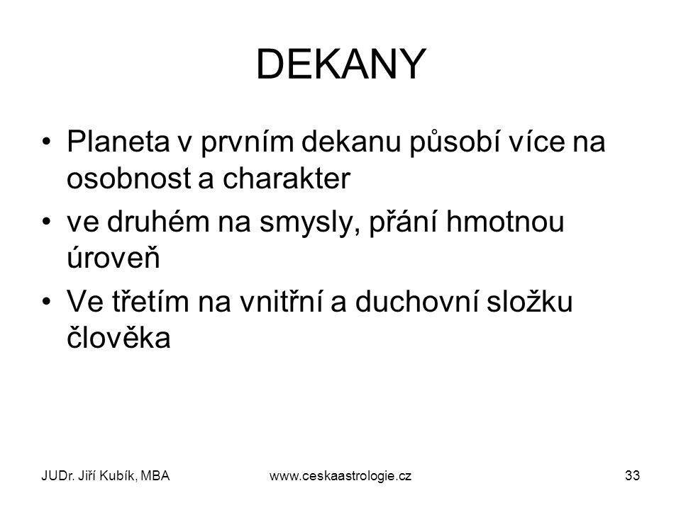 JUDr. Jiří Kubík, MBAwww.ceskaastrologie.cz33 DEKANY Planeta v prvním dekanu působí více na osobnost a charakter ve druhém na smysly, přání hmotnou úr