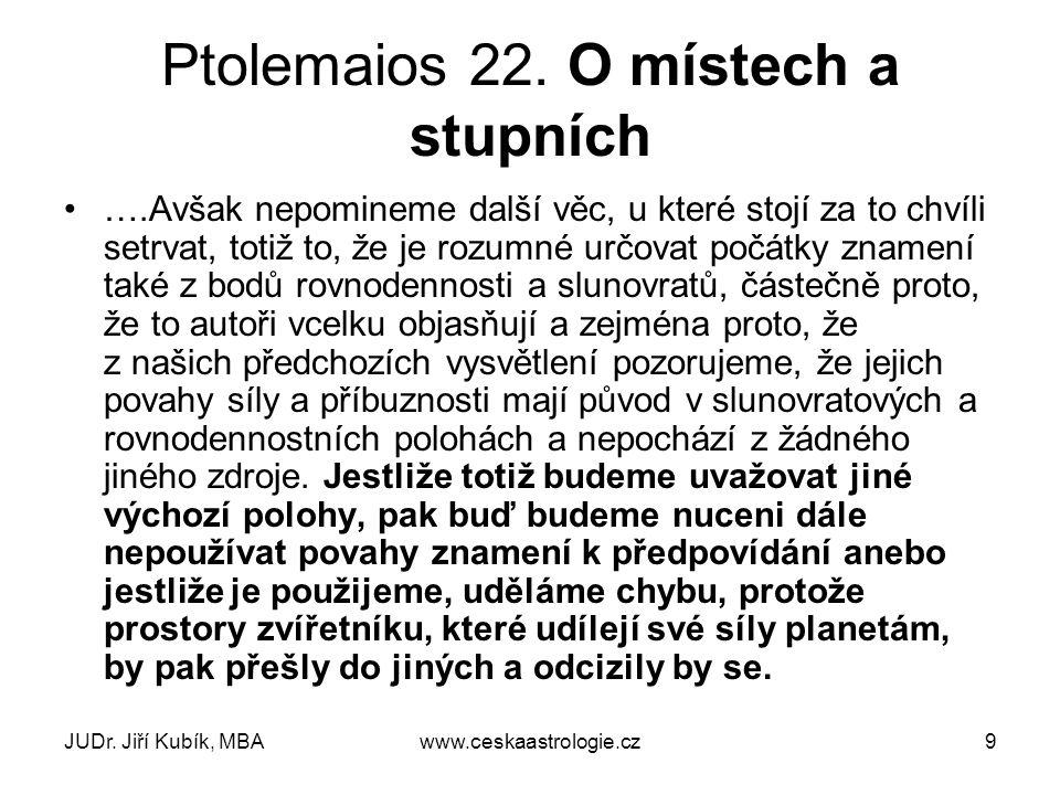 JUDr. Jiří Kubík, MBAwww.ceskaastrologie.cz9 Ptolemaios 22. O místech a stupních ….Avšak nepomineme další věc, u které stojí za to chvíli setrvat, tot