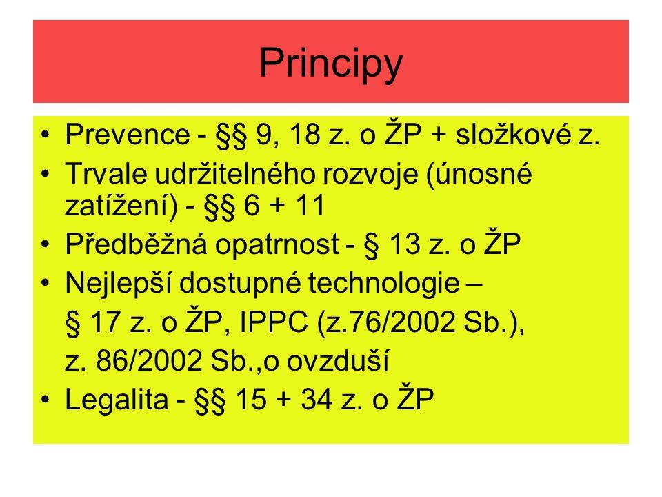 Principy Prevence - §§ 9, 18 z. o ŽP + složkové z. Trvale udržitelného rozvoje (únosné zatížení) - §§ 6 + 11 Předběžná opatrnost - § 13 z. o ŽP Nejlep