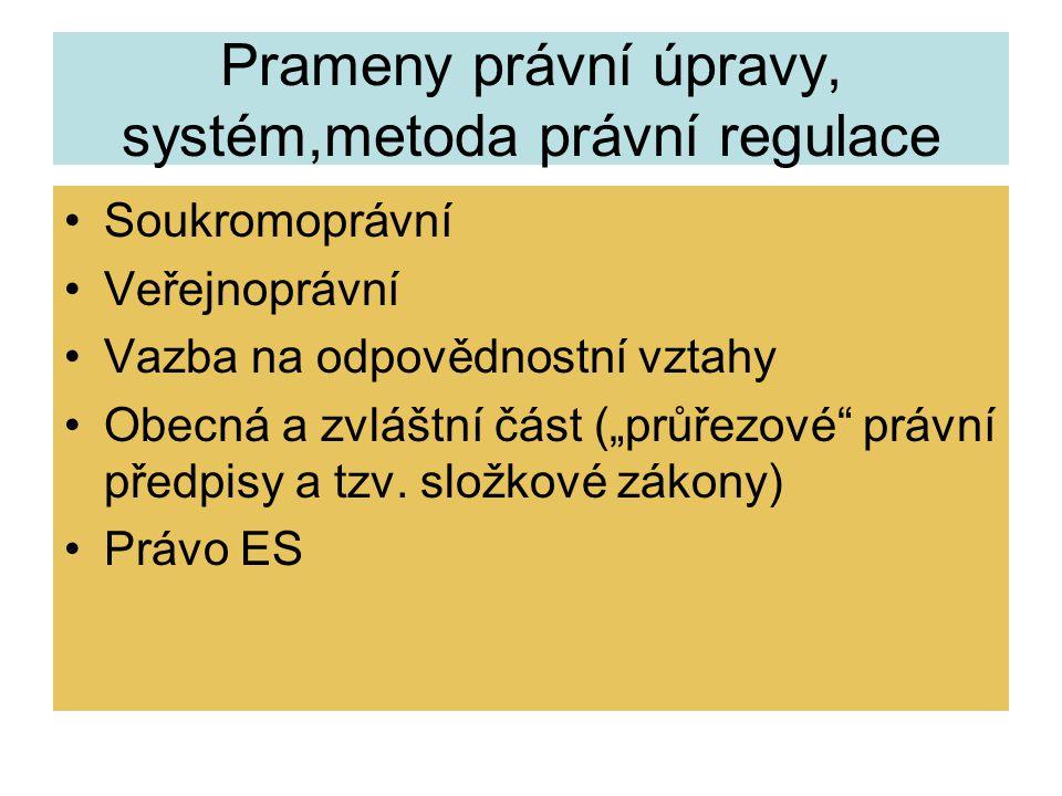 """Prameny právní úpravy, systém,metoda právní regulace Soukromoprávní Veřejnoprávní Vazba na odpovědnostní vztahy Obecná a zvláštní část (""""průřezové"""" pr"""