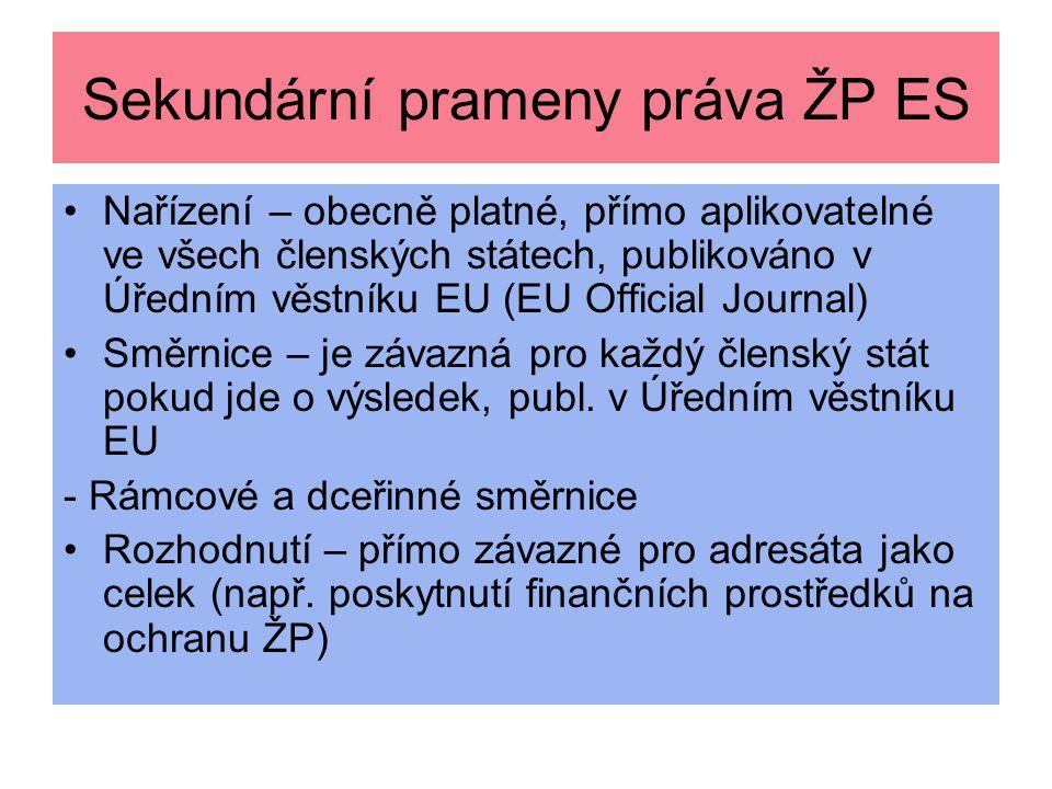 Sekundární prameny práva ŽP ES Nařízení – obecně platné, přímo aplikovatelné ve všech členských státech, publikováno v Úředním věstníku EU (EU Officia