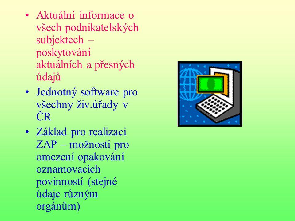 Aktuální informace o všech podnikatelských subjektech – poskytování aktuálních a přesných údajů Jednotný software pro všechny živ.úřady v ČR Základ pr