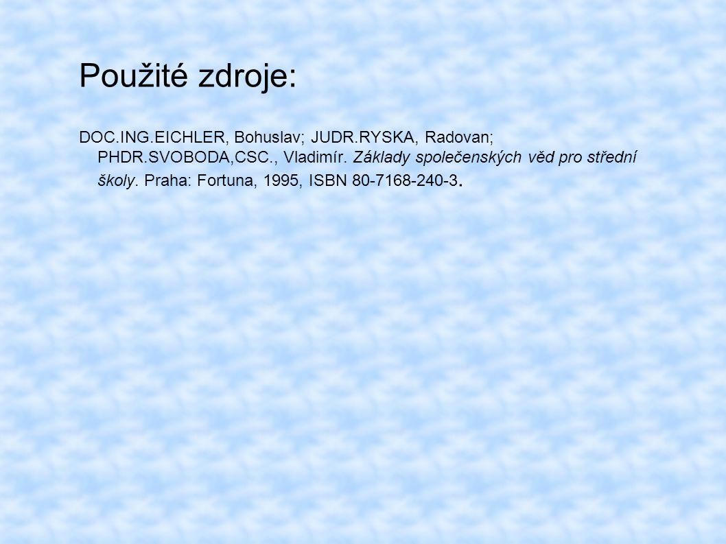 Použité zdroje: DOC.ING.EICHLER, Bohuslav; JUDR.RYSKA, Radovan; PHDR.SVOBODA,CSC., Vladimír.