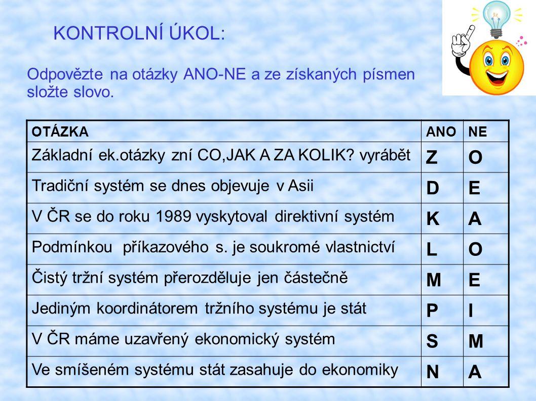 KONTROLNÍ ÚKOL: Odpovězte na otázky ANO-NE a ze získaných písmen složte slovo.