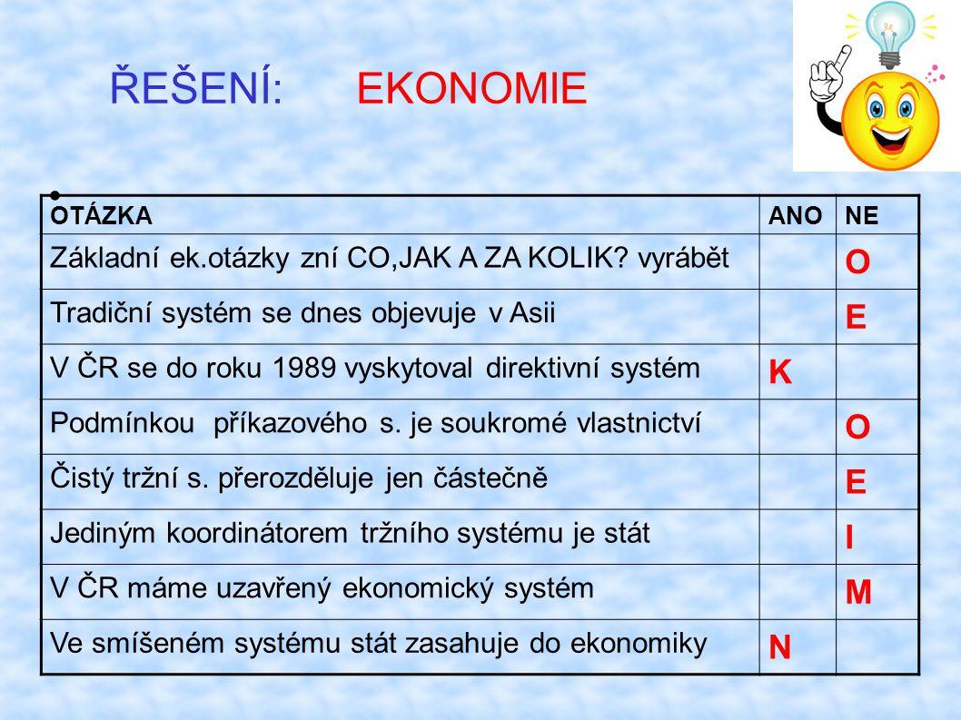 ŘEŠENÍ: EKONOMIE OTÁZKAANONE Základní ek.otázky zní CO,JAK A ZA KOLIK.