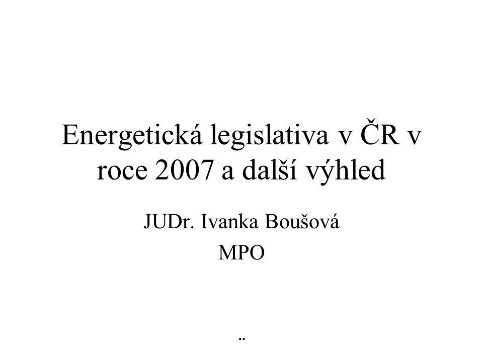Energetická legislativa v ČR v roce 2007 a další výhled JUDr. Ivanka Boušová MPO ¨