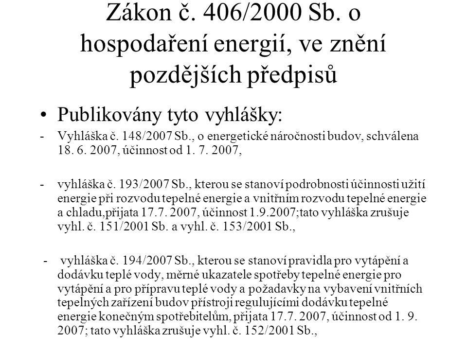Zákon č. 406/2000 Sb. o hospodaření energií, ve znění pozdějších předpisů Publikovány tyto vyhlášky: -Vyhláška č. 148/2007 Sb., o energetické náročnos
