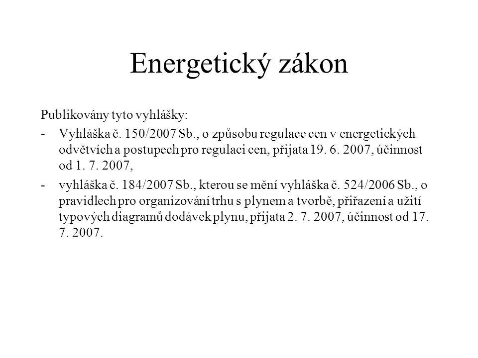 Energetický zákon Publikovány tyto vyhlášky: -Vyhláška č. 150/2007 Sb., o způsobu regulace cen v energetických odvětvích a postupech pro regulaci cen,